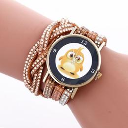 Diamond Bracelet Digital Watch Canada - Fashion duckling little duck women bracelet watch vintage retro ladies casual leather diamond dress quartz wristwatch
