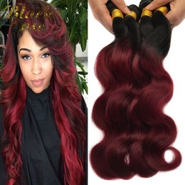 """tangle free human hair extensions 2019 - Wholesale 4Pcs Ombre Peruvian Human Hair Extensions 10""""-26"""" Two Tone Peruvian Ombre Virgin Hair Weave Body Wav"""