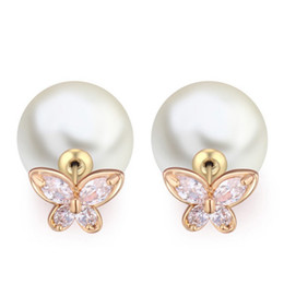 $enCountryForm.capitalKeyWord UK - 5 Colors Newest Coming Lovely Women Earrings 18K Real Gold Plated White Sparky CZ Double Sides Pearl Butterfly Earrings for Girls Women
