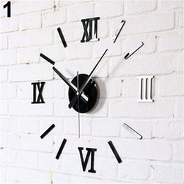 roman wall clock 2019 - Wholesale- 3D Acrylic Mirror Surface Roman Numerals Wall Clock Stickers Home DIY Decor 10WG cheap roman wall clock