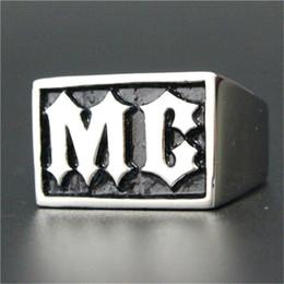Men Size 15 Rings Australia - 5pcs lot size 7-15 Biker Style MC Ring 316L Stainless Steel Fashion Jewelry Men Boy Persona Design Motorcycles Cool Ring