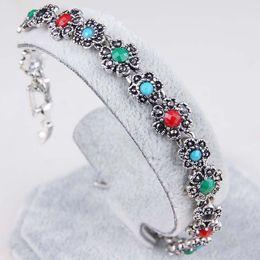 $enCountryForm.capitalKeyWord Canada - 2016 summer new ladies bracelet antique silver jewelry inlaid flowers retro European and American export resin bracelet
