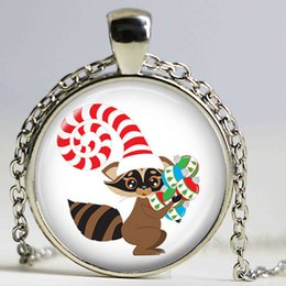 suéter mapache al por mayor-Raccoon Photo Logo Colgante América del Norte Animal Wildlife Accesorio Cristal Cabochon Collar Silver Bronze Chain Sweater Necklace