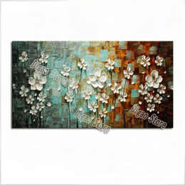 simple flower oil painting Canada - White flowers pure hand painted scenery oil painting on canvas modern simple style home wall art decoration paintings