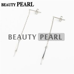 925 silver blanks UK - HOPEARL Jewelry Pearl Drop Earring Mountings Threader 925 Sterling Silver Dangle Chain Earring Blanks 3 Pairs