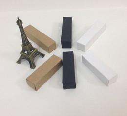 China 250pcs 2*2*9.8cm Small Black White Kraft Paper Storage Box for Lipstick Essential Oil Perfume Sprays Sample Bottle Box suppliers