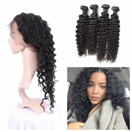 Lace frontaL Light brown online shopping - 360 lace frontal with bundles virgin indian deep wave wavy curly human hair frontal pre plucked