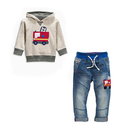 China 2016 baby girls boys cute 2pcs set Kids denim suit cotton Children's tracksuit sport set long sleeve sweatshirts hoody+jeans 2-7years retail suppliers