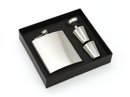 $enCountryForm.capitalKeyWord Australia - 7 oz Stainless Steel Hip Flask Sets jack Flagon With Funnel Cups wine Whisky Hip Flask Portable Flagon bottle Gift Box Packing BY DHL 240409