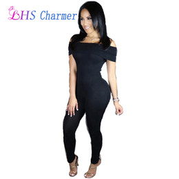 Barato Club Bodysuits Para Mulheres-Venda por atacado - 1X Sexy Club Jumpsuits feminina Slash Neck Jumpsuits Bodysuit Bodycon Cleavage Playsuits Bodysuits Party Clothing Clothes