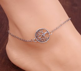 $enCountryForm.capitalKeyWord NZ - Hot life tree Chain Anklet Silver Plated Ankle Bracelet Tree Of Life Foot Jewelry for women alloy chain unique beautiful gift for friends