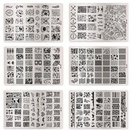 Discount stamped nail art design - Wholesale- 1 Pcs Nail Stamping Plates For Nail Art Templates Big Size Hundreds Beauty Pattern Design Stainless Steel Man