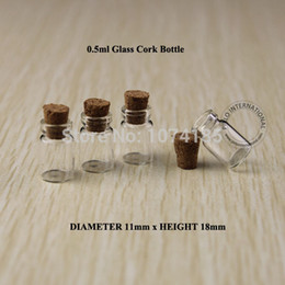 Vintage Small Bottles NZ - 50pcs 0.5ml Glass Bottle Vials With Wood Cork Mini Bottle Vial small wishing perfume display bottle Vintage Glassware Clear