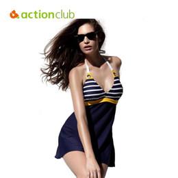 $enCountryForm.capitalKeyWord Australia - Wholesale- Actionclub Sexy Stripe Plus Size Padded Navy Blue Halter Skirt Swimwear Women One Piece Swimsuit Beachwear Bathing Suit WS453