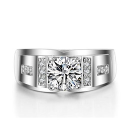 Simulated Diamond Cluster Rings NZ - 925 Silver Round Simulated Diamond CZ Side Stone Wedding Ring for Men