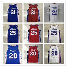 Mens 2017-18 New season jerseys 25 Ben Simmons 20 Markelle Fultz 21 Joel  Embiid 100% Stitched jersey ... 72b8c9719