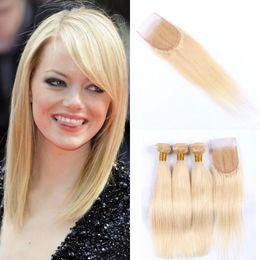 virgin mongolian straight human hair bundles 2019 - #613 blonde 4x4 Free Part Lace Top Closure With Bundles Virgin Indian Straight Human Hair Weaves Closure G-EASY cheap vi