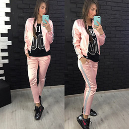 Longer Length Sweatshirts Canada - Spring Women Sporting Suit Casual zipper Sweatshirt Coat + Long pants 2 Pieces Set Women Sportswear Suits Lady Autumn Jackets