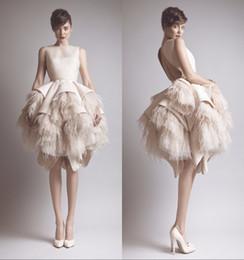 $enCountryForm.capitalKeyWord Canada - Luxury New 2019 Evening Dresses With Feathers Ashi Studio O-Neck Keyhole Back Satin Layered Knee Length A-Line Evening Gowns