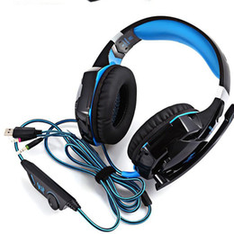 Headband Microphone Canada - Gaming Headphones Stereo Noise Cancelling Headsets Studio Headband Microphone Earphones With Light For Computer PC Gamer EACH G2000
