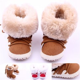 Barato Meninas Macias De Inverno Quente Meninos-New Fashion Winter Cross-tied Baby Boot de neve, Super Warm Plush Soft Bottom Baby Booties, Toddler Baby Boys Girls First Walker Shoes.CX20