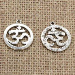 $enCountryForm.capitalKeyWord NZ - Wholesale 32pcs Charms Tibetan Silver Antique Bronze Gold plated Yoga OM 25mm Pendant for Jewelry DIY Hand Made Fitting