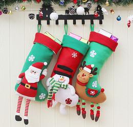 Stuffed Sock Canada - 3 styles Christmas Stockings Decor Ornament Party Decorations Santa Christmas Stocking Candy Socks Bags Xmas Gifts Bag New Hot