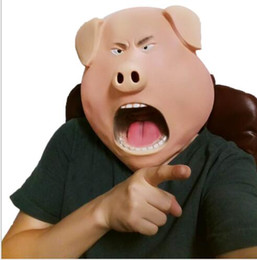 Pig Face Masks NZ - WholesaleHalloween Party Cosplay Magical Creepy Adult Funny Pig Head Latex Rubber Mask Animal Head Mask Pig Mask Costume Prop Toys