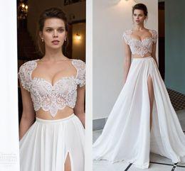 Two piece wedding dress online shopping - Two Pieces White Wedding Dresses Riki Dalal Newest Cap Sleeves Crystal Beads Split Long Chiffon Bohemian Beach Bridal Gowns