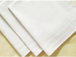Ingrosso 100 pz / lotto Nuovo 100% cotone maschio tavolo raso fazzoletto rimorchiatori fazzoletto quadrato più bianco 34 cm 2016 caldo