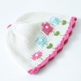 $enCountryForm.capitalKeyWord Australia - Wholesale 2016 White Baby Hat Flora Embroidery Cotton Crochet Baby Beanies Kids Fall Winter Baby Cap Handmade Knit Windproof Earmuffs Cap