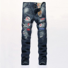 Barato Designer Jeans Remendos-Alta qualidade Jeans Moda masculina Marca Patches Ripped Jeans New Designer motociclista Denim Jeans Hip Hop Hetero Skinny Jeans