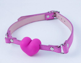 Mouth Silica Gel Canada - Newest open mouth bondage silica gel leather heart ball gag passion flirting BDSM mouth gags sex product toys pink color A152