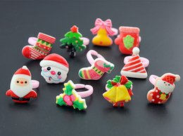 Barato Bebê Meia Quente-Hot Selling Wholesale 50pcs Cute Papai Noel / Bels / Stocking Crianças Cartoon Anéis de Natal Baby Girls Kids Rings Gift MR122