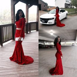Barato Vestido De Renda De Sereia De Duas Peças Vermelho-Gorgeous 2016 Shiny Red Full Lace Duas peças Vestidos de noite Sheer Long Sleeves Mermaid Prom Dresses Custom Made Formal Party Gowns