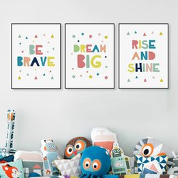Baby Posters Canada - Kawaii Minimalist Colorful Brave Dream Quotes A4 Big Canvas Poster Print Nursery Wall Art Kids Baby Room Decor Painting No Frame