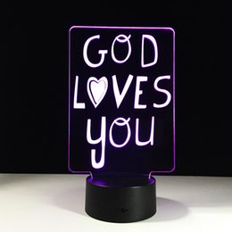 Night Lamp Star Love Canada - 2016 God Loves You 3D Optical Illusion Lamp Night Light DC 5V USB AA Battery Wholesale Dropshipping Free Shipping Retail Box