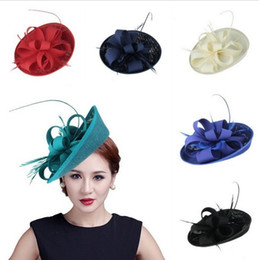 Barato Fascinator Pena Elegante-Hairpins for Women Costume Party Hair Accessories Elegante Pena Fascinator Mini Top Hats Fancy Hair Clip