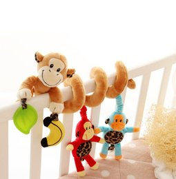 Hanging Monkeys Toy Canada - Baby Musical Rattle Toys Bed Baby Carriage Stroller Monkey Plush Rattle Hanging Infant Appease Toy Multifunctional Puzzle Toy