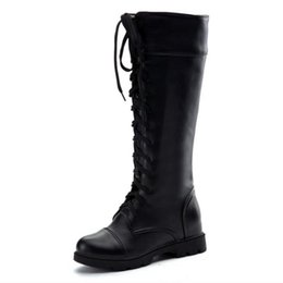 e3f23b7d7fcf New Fashion Women s Boots Lace Up Knee High Boots Women Martin Boots Flats  Casual Punk Footwear Shoes Woman