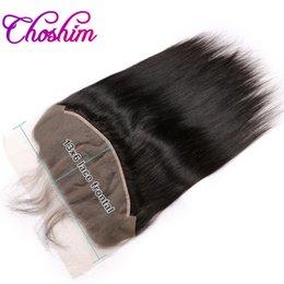Cierre frontal de encaje Choshim Ear to Ear 13x6 con pelo de bebé pre arrancado 10-20inch Remy recto de cabello humano brasileño Free Part en venta