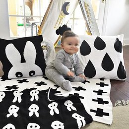 red white baby bedding NZ - ins Baby Blanket Black White Cute Rabbit Swan Cross Knitted Plaid For Bed Sofa Cobertores Mantas BedSpread Bath Towels Play Mat Gift