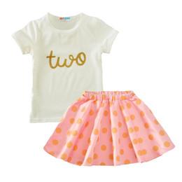 Girls Green Shirts NZ - 2017 Girl Clothing Sets Summer Two T Shirt+Polka Dot Skirts 2pcs Baby Clothes Kawaii Pink Green Kids Infant Clothing Set