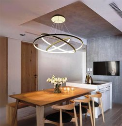 master bedroom chandelier 2019 - 3 ring acrylic Chandelier Brightness Dimmable Modern round pendant lamp 90-260V 40 60 100CM Simple personality Ceiling L