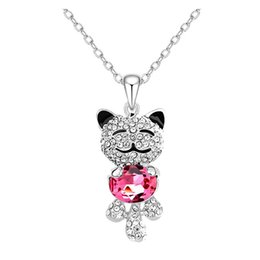 Cute Cat Charms online shopping - Women Girls Lucky Cat Animal Design Jewelry Austria Crystals Cute Sweet Teddy Bear Princess Smiling Pendant Necklace
