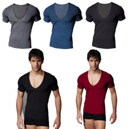 Sexy Tights For Men Canada - Hot Men's Summer Deep V-neck Short Sleeve Tight-fitting Sports T-shirts For Men Sexy Black Active Running Slim Tops Tees Shirts