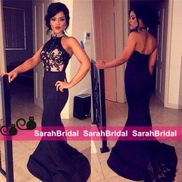 Barato Backless Top Laço Preto-2016 Black Mermaid Prom Dresses Halter Neck Lace Top Sexy Backless Evening Gowns Custom Made para banquete de ocasião especial Soiree Women Wear