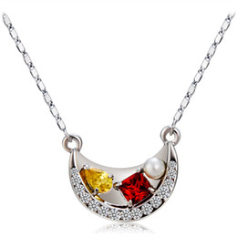 neoglory jewelry Australia - Brand New High Quality Moon shaped crystal Penadnt Necklace For Women Neoglory Fashipn Jewelry Multicolor Drop Shipping NJ-0010