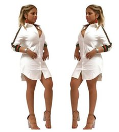 Camisas De Mujer Baratos-2017 nuevas mujeres Cardigan Camisa dress Moda Slim sexy deep V Club vendaje bodycon dress ladies blanco Blusas tops