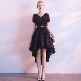 Really Dresses Australia - Really Photo Black Lace V-Neck Short Sleeves Zipper Asymmetrical Ball Gown With Sash Short Cocktail Dress Plus Size Vestido de fiesta